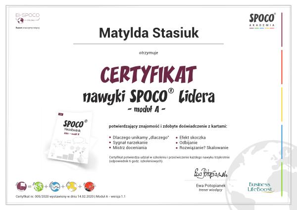 Certyfikat SPOCO Lider